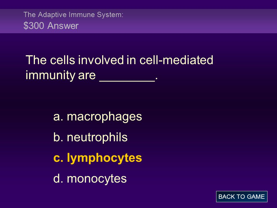 The Adaptive Immune System: $300 Answer