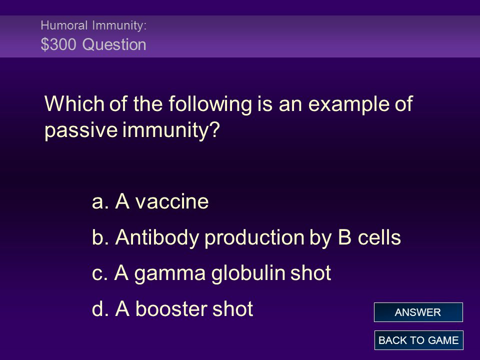 Humoral Immunity: $300 Question