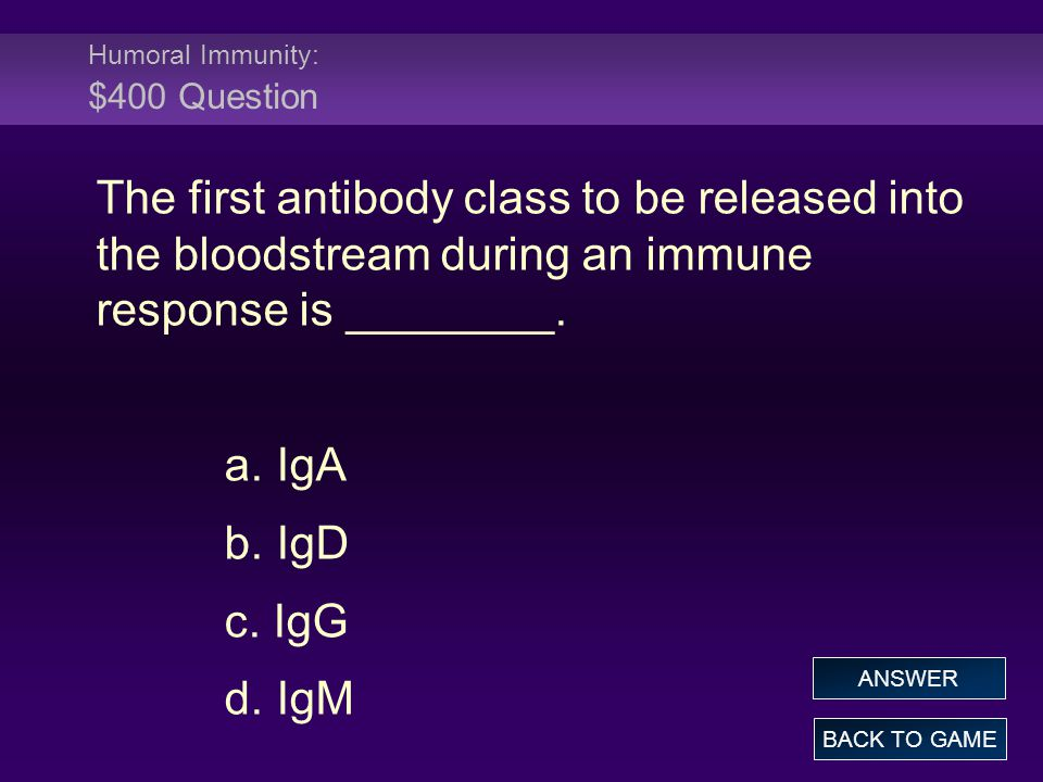 Humoral Immunity: $400 Question