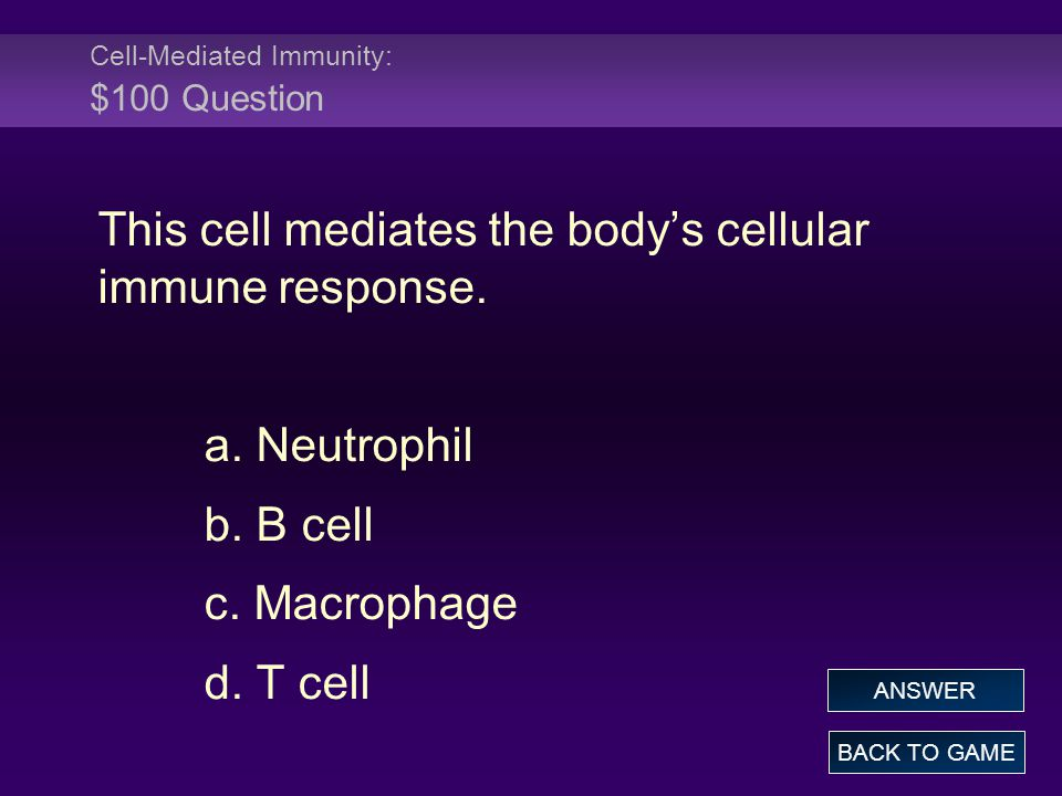 Cell-Mediated Immunity: $100 Question