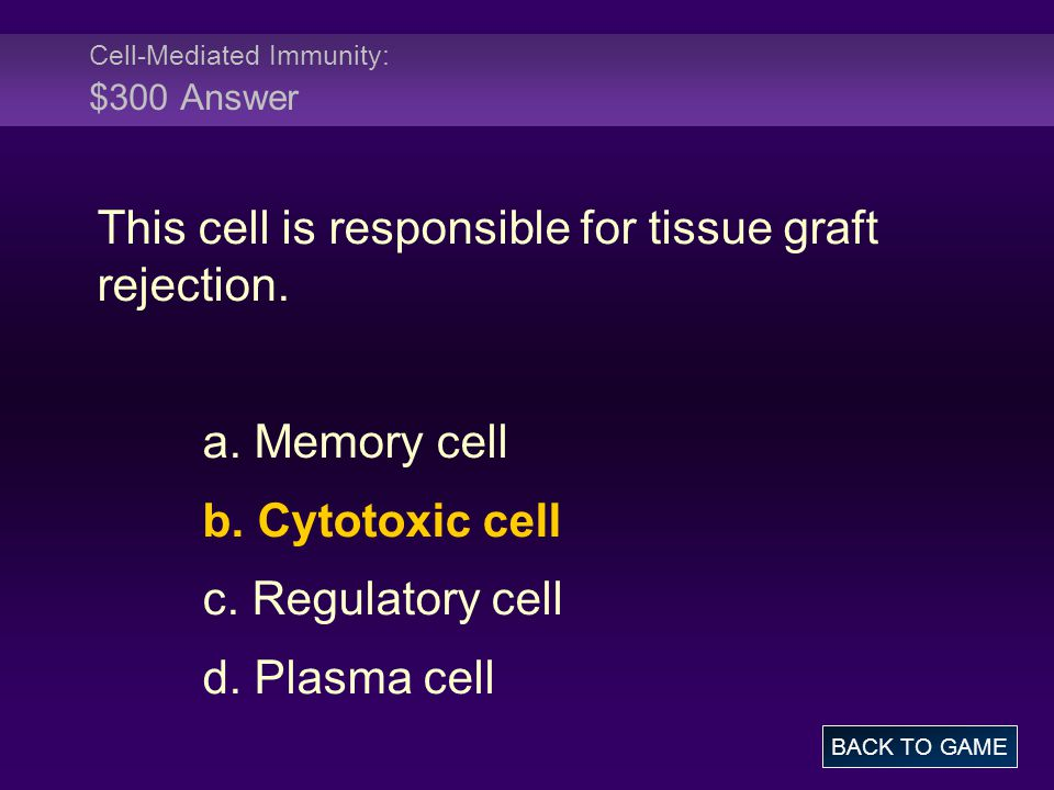 Cell-Mediated Immunity: $300 Answer