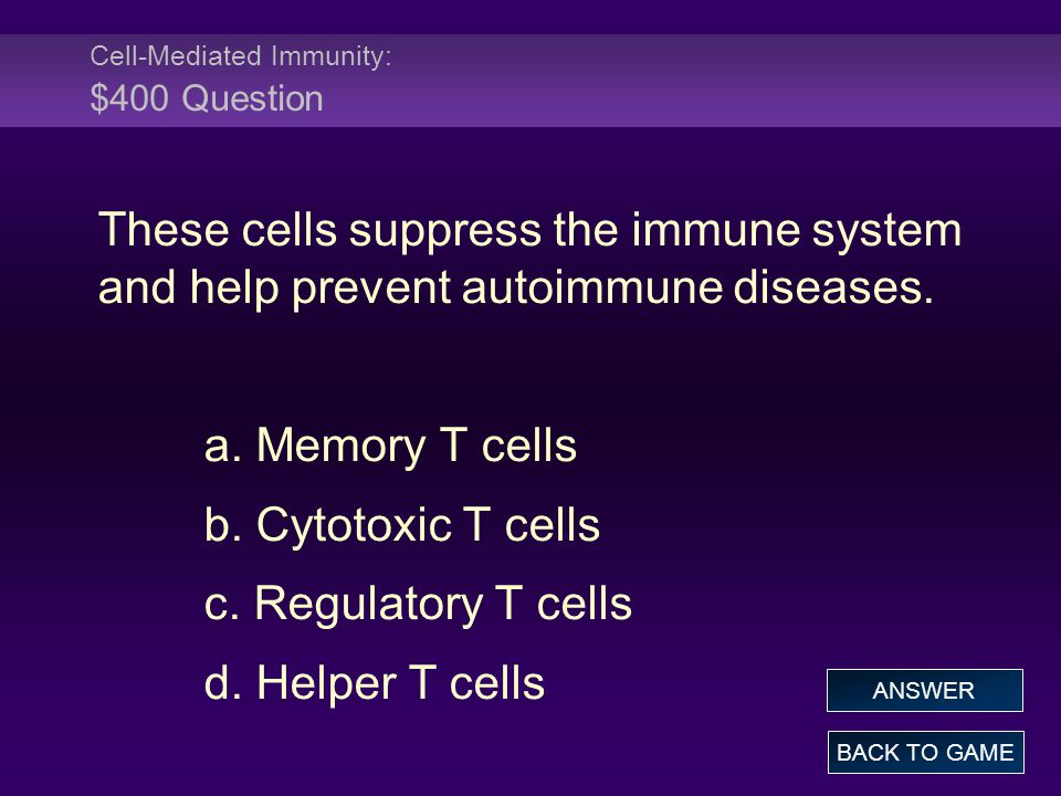 Cell-Mediated Immunity: $400 Question