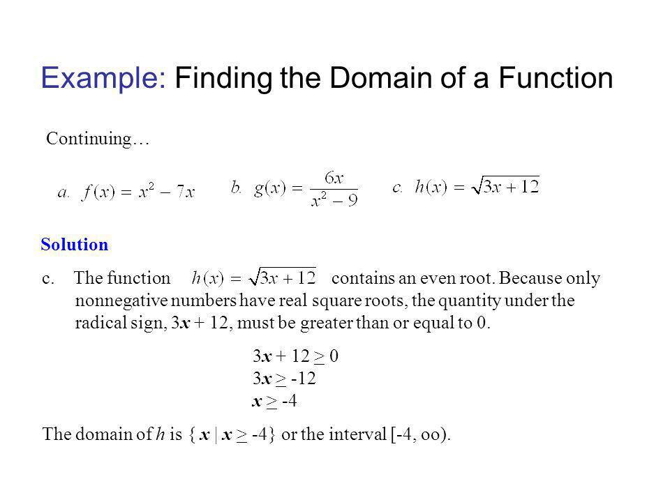 Example: Finding the Domain of a Function