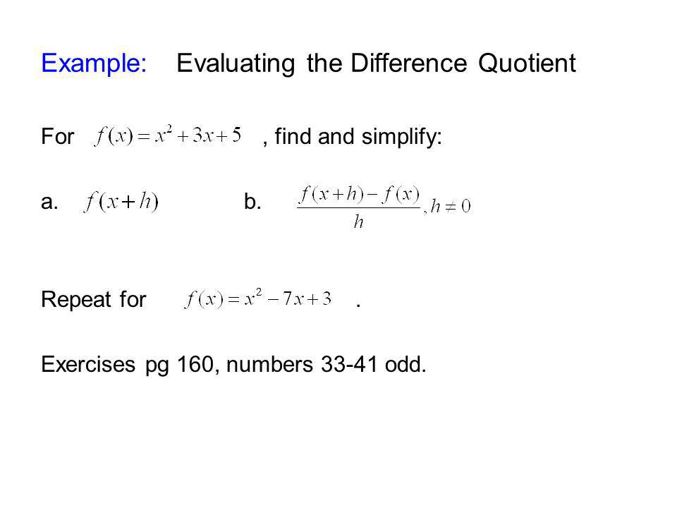 Example: Evaluating the Difference Quotient