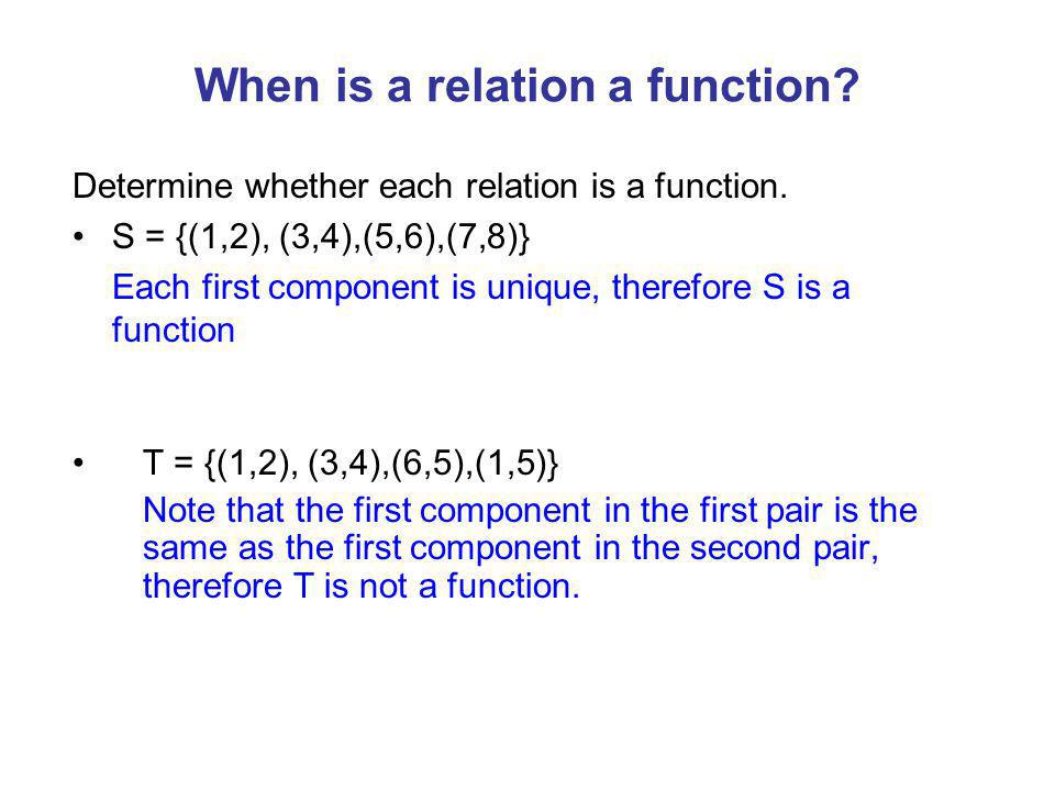 When is a relation a function