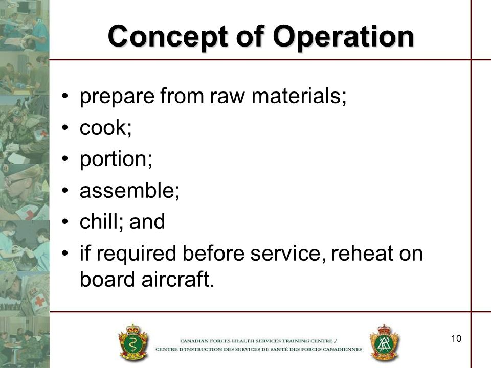 Concept of Operation prepare from raw materials; cook; portion;