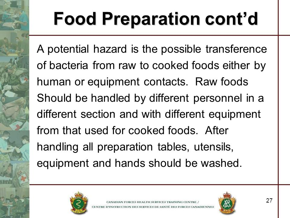 Food Preparation cont'd