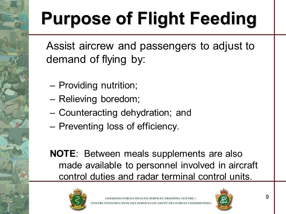 Purpose of Flight Feeding