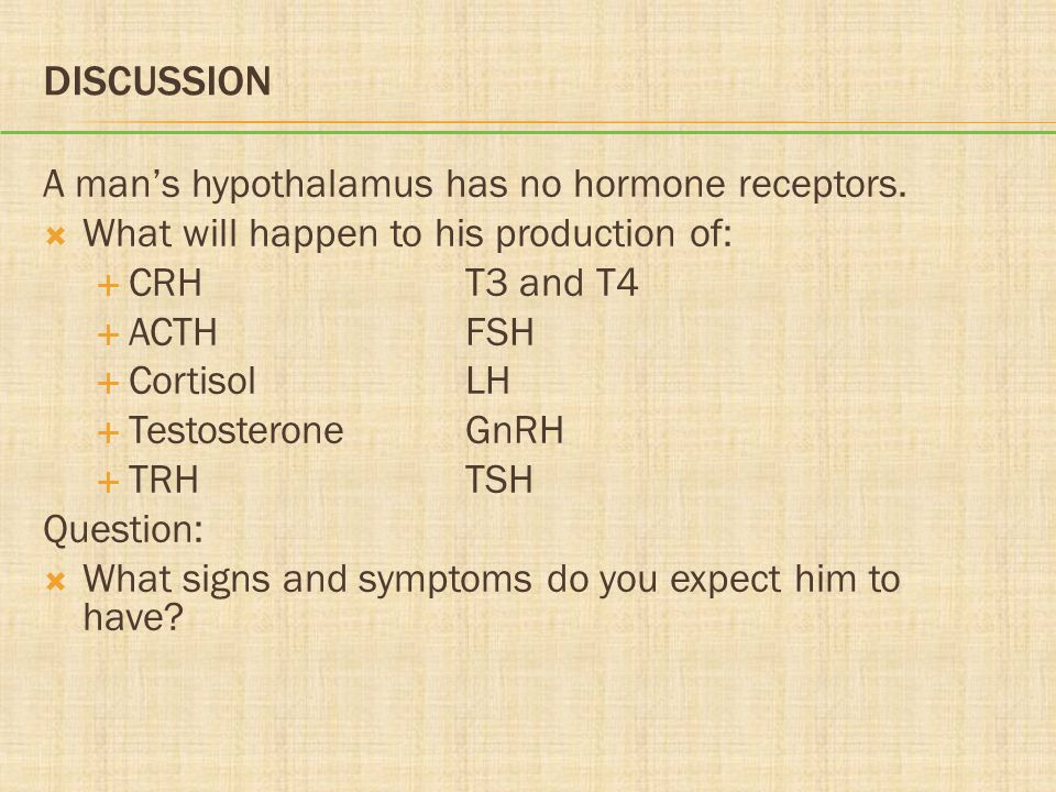 Discussion A man's hypothalamus has no hormone receptors.