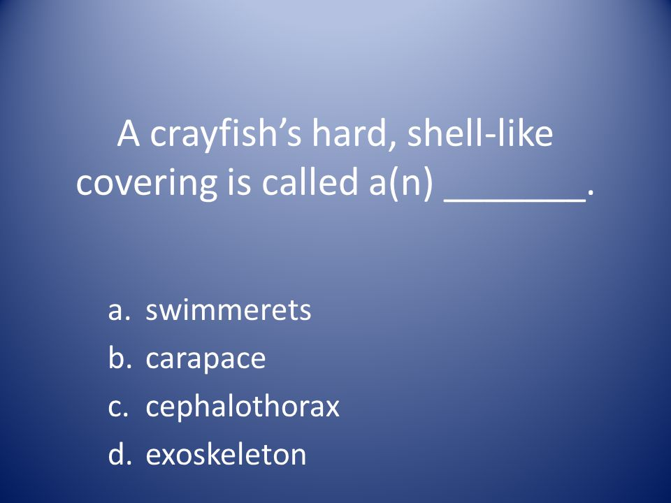 A crayfish's hard, shell-like covering is called a(n) _______.