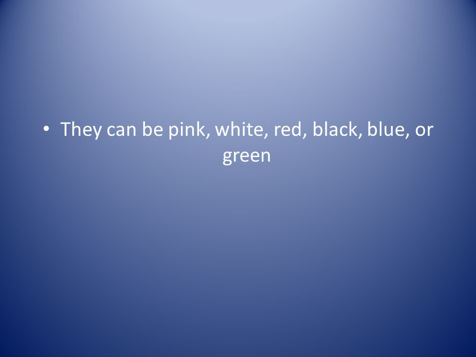 They can be pink, white, red, black, blue, or green