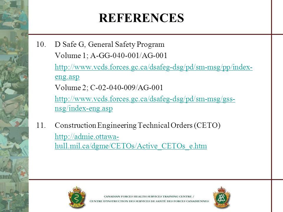 REFERENCES 10. D Safe G, General Safety Program