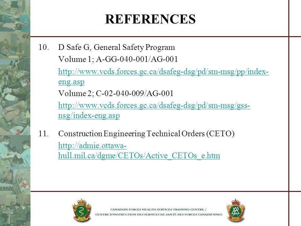 REFERENCES 10. D Safe G, General Safety Program