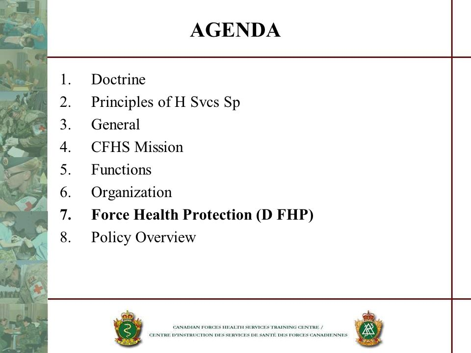 AGENDA Doctrine Principles of H Svcs Sp General CFHS Mission Functions