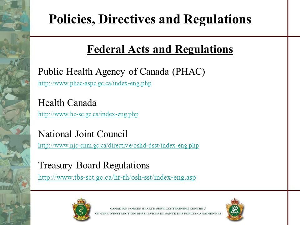 Policies, Directives and Regulations