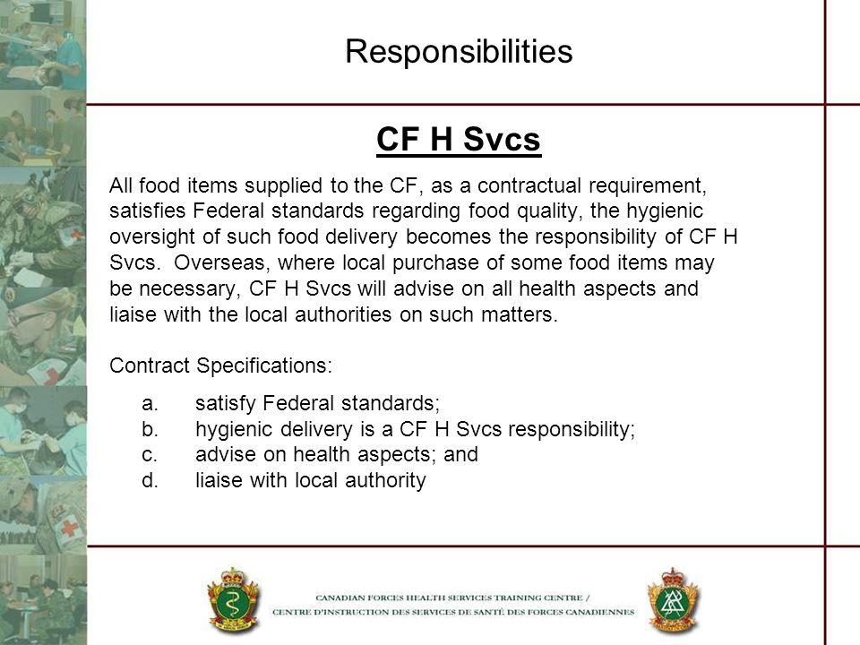 Responsibilities CF H Svcs