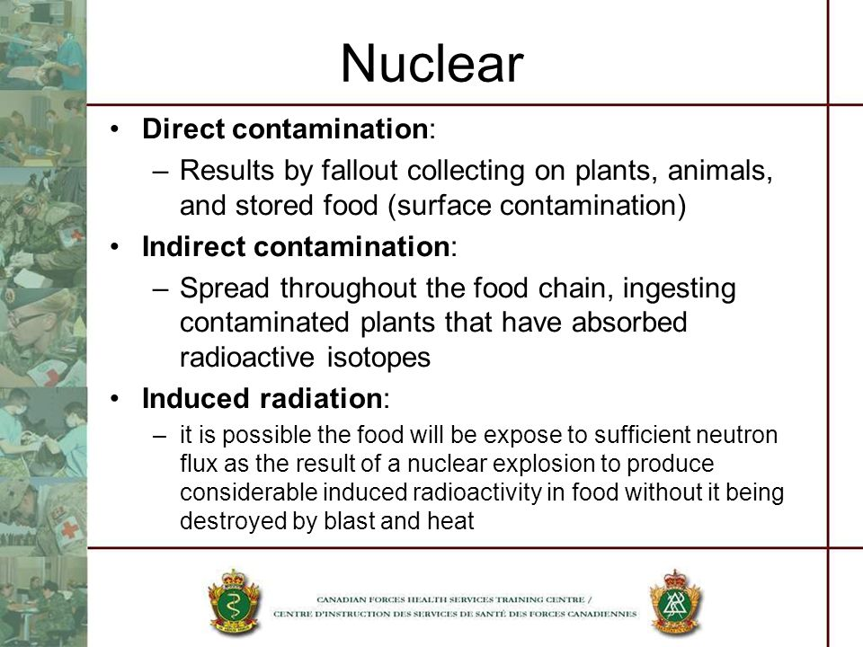 Nuclear Direct contamination: