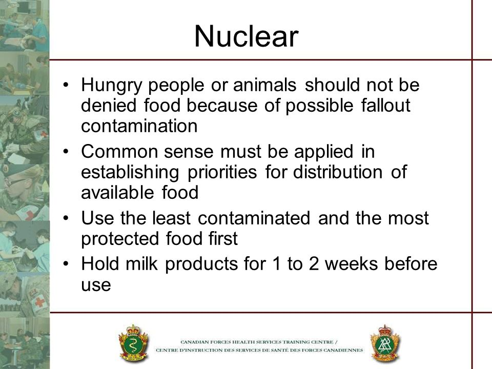 Nuclear Hungry people or animals should not be denied food because of possible fallout contamination.