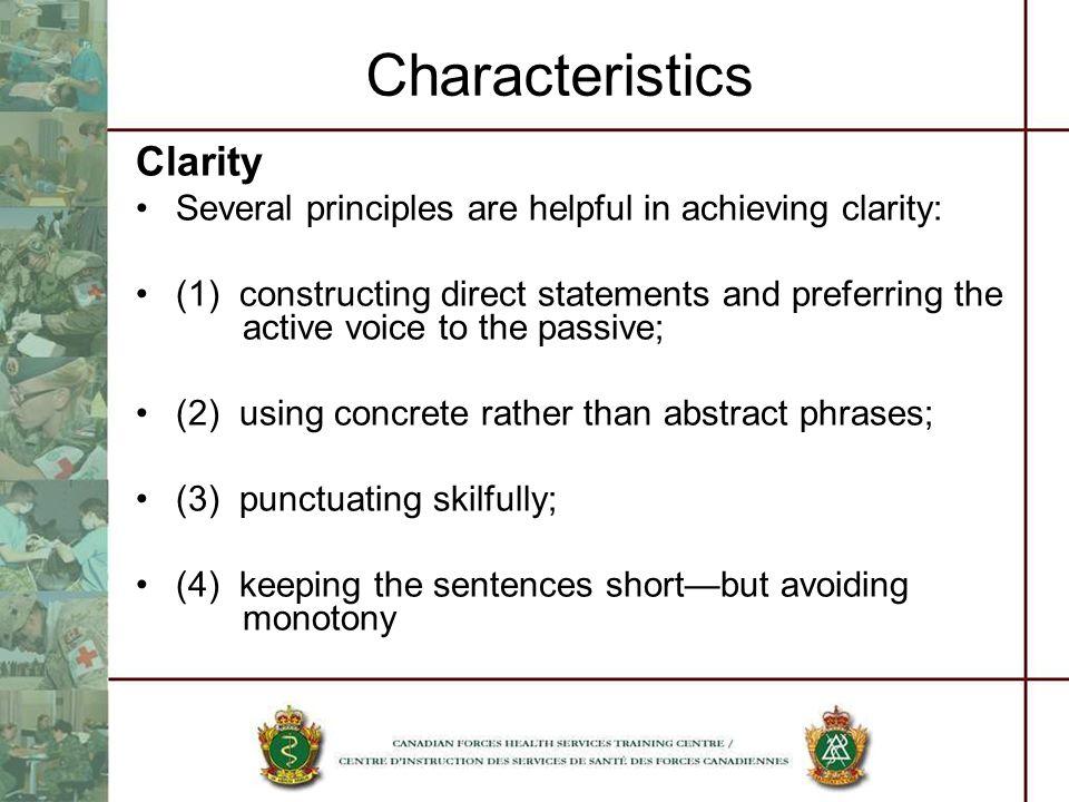 Characteristics Clarity