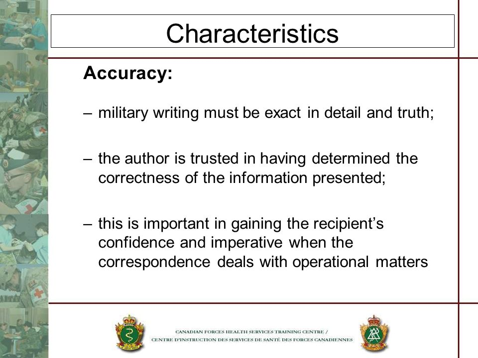 Characteristics Accuracy: