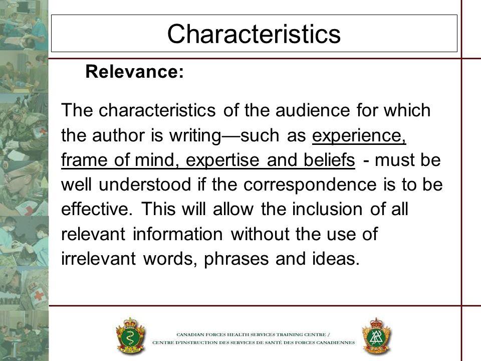 Characteristics Relevance: