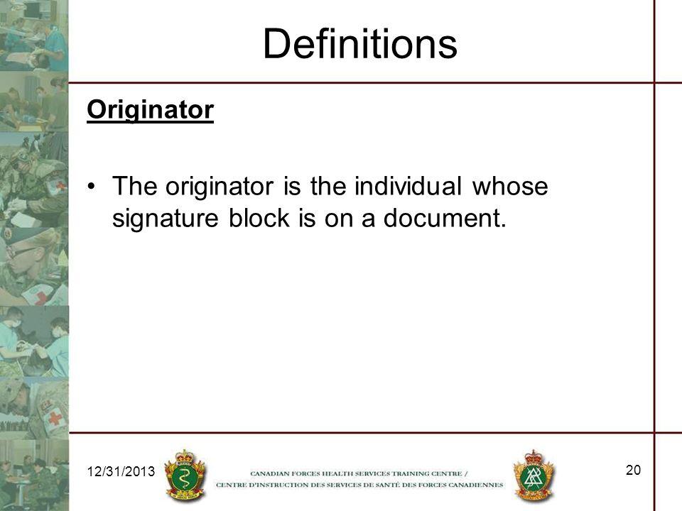 Definitions Originator