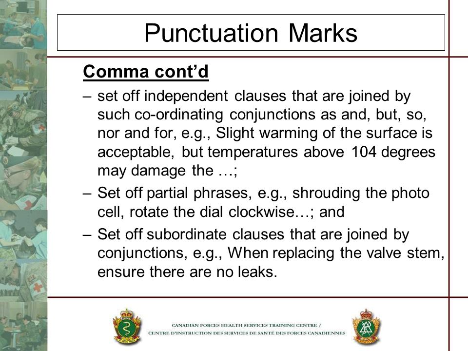 Punctuation Marks Comma cont'd