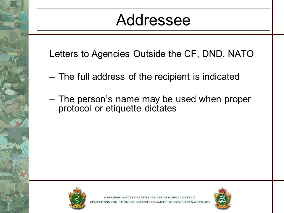 Addressee Letters to Agencies Outside the CF, DND, NATO