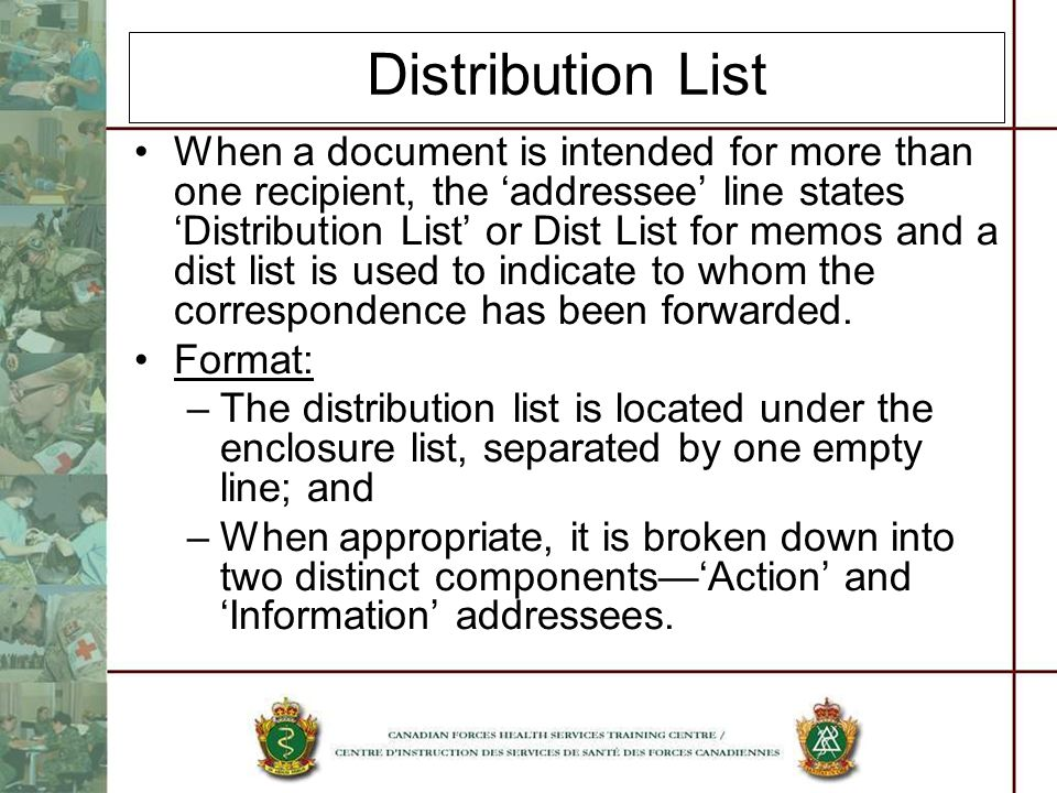 Distribution List