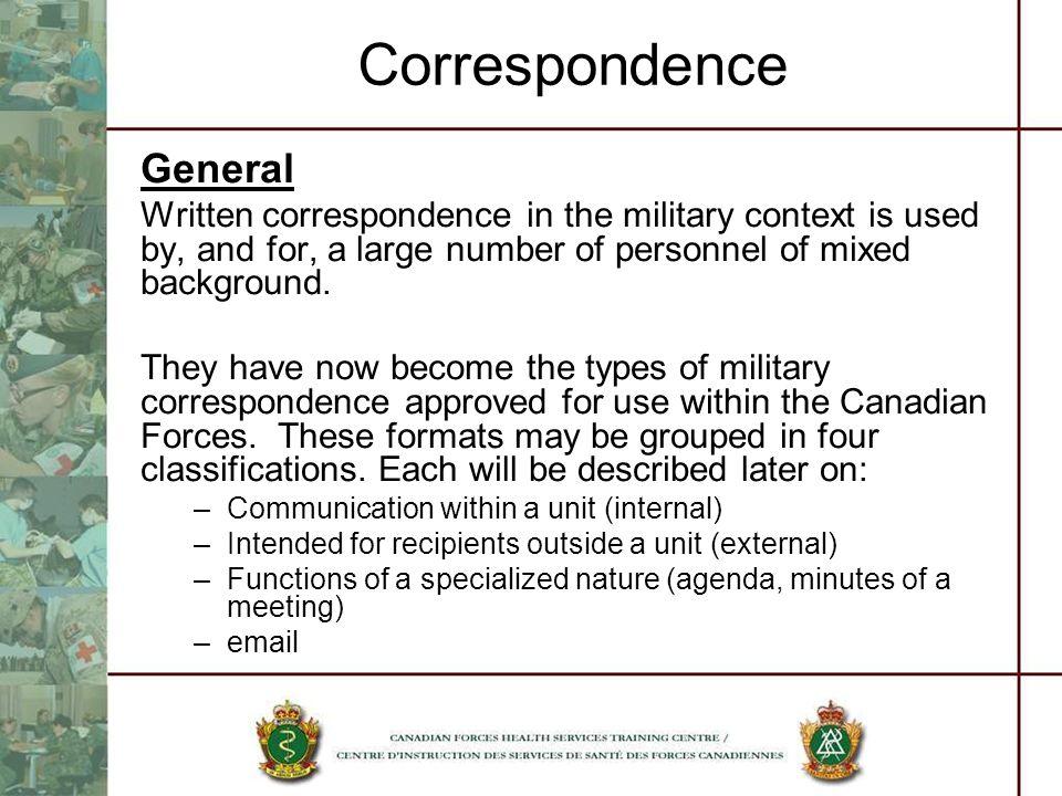 Correspondence General