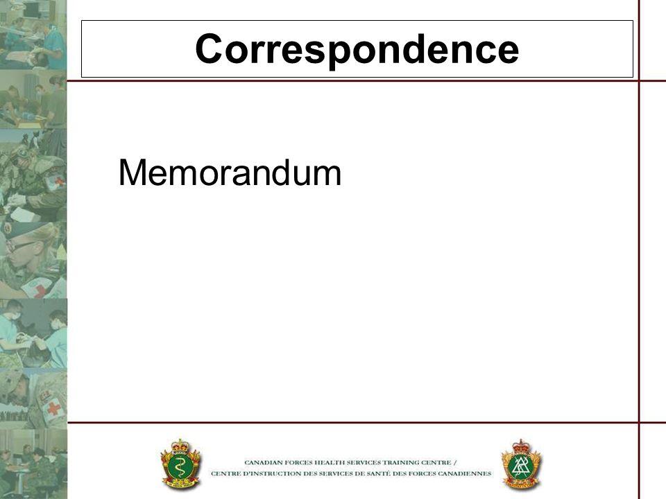 Correspondence Memorandum