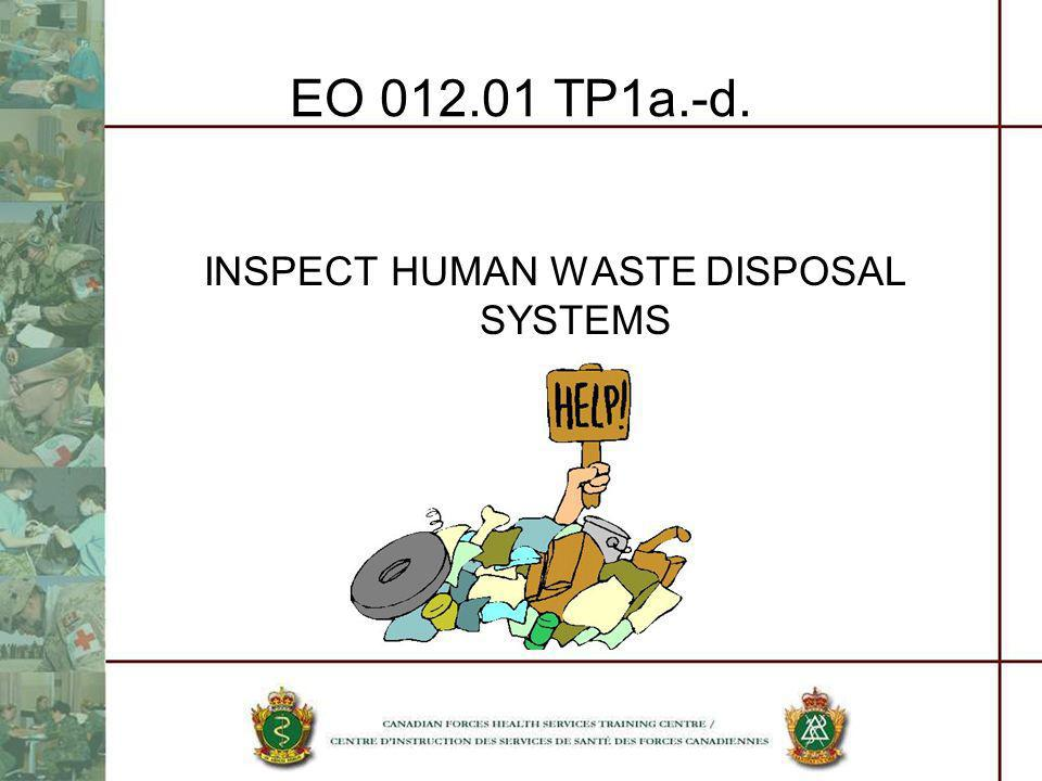 INSPECT HUMAN WASTE DISPOSAL SYSTEMS