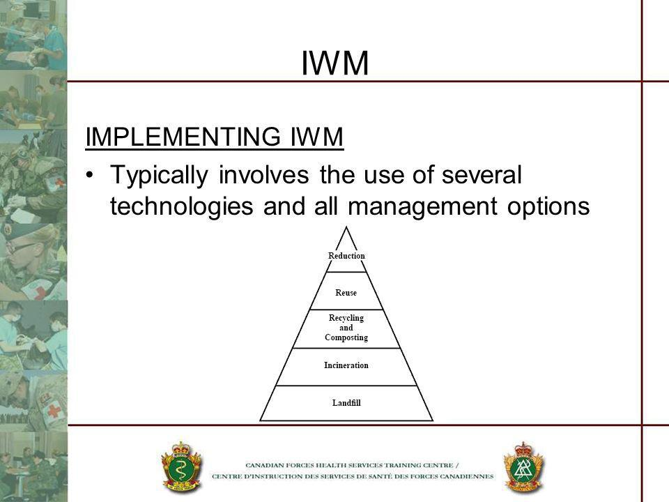 IWM IMPLEMENTING IWM. Typically involves the use of several technologies and all management options.