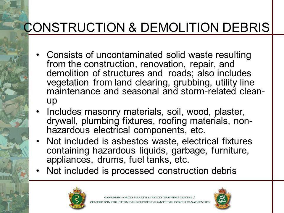 CONSTRUCTION & DEMOLITION DEBRIS