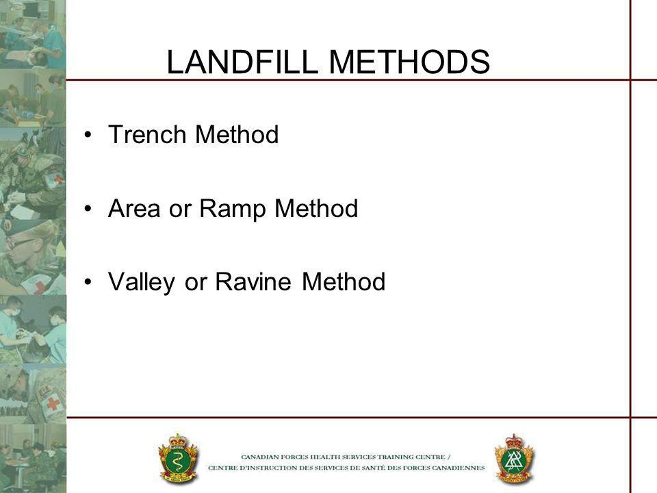 LANDFILL METHODS Trench Method Area or Ramp Method