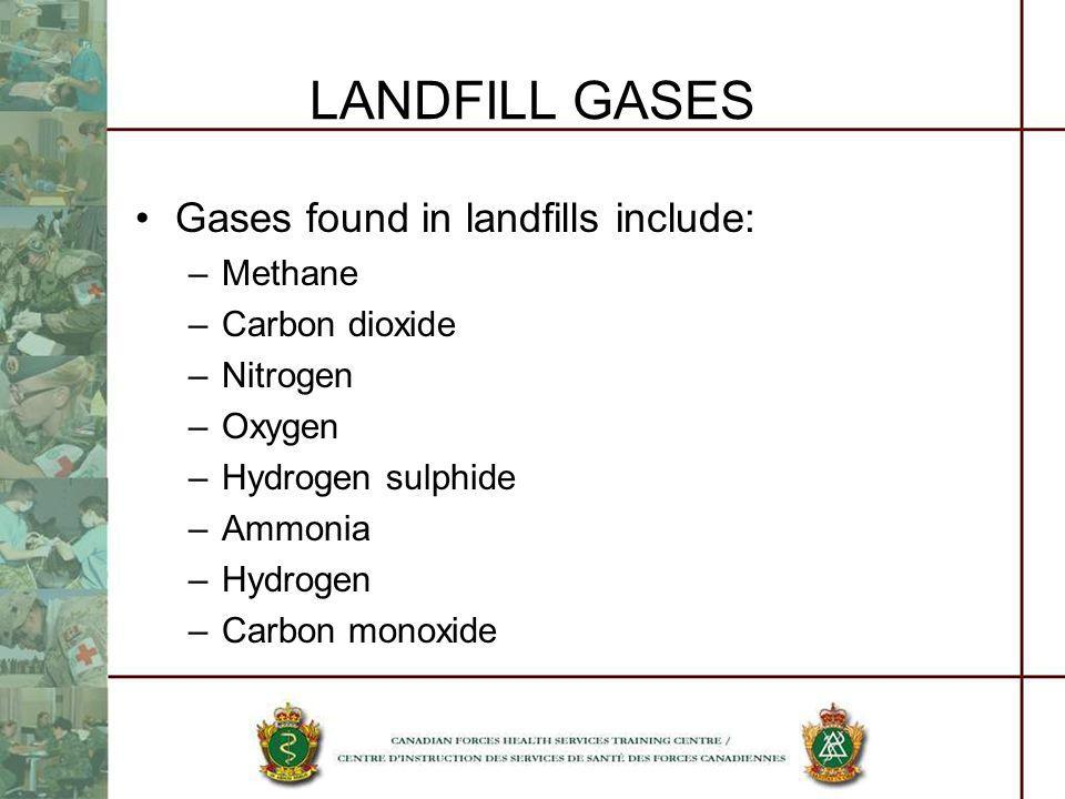 LANDFILL GASES Gases found in landfills include: Methane