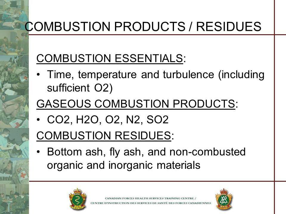 COMBUSTION PRODUCTS / RESIDUES