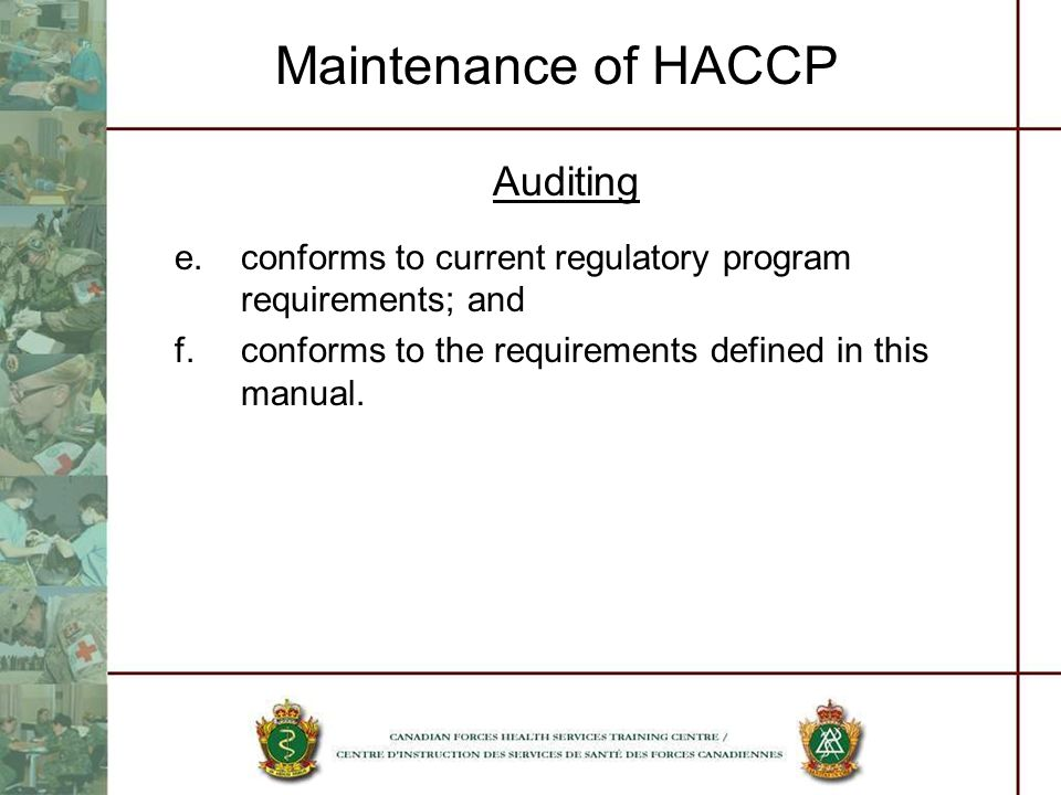 Maintenance of HACCP Auditing