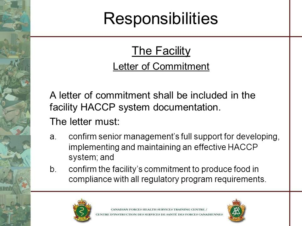 Responsibilities The Facility Letter of Commitment