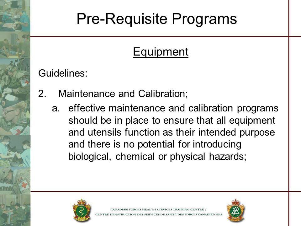 Pre-Requisite Programs