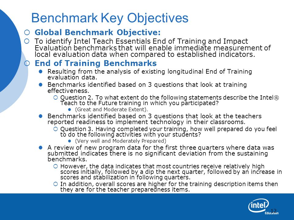 Benchmark Key Objectives