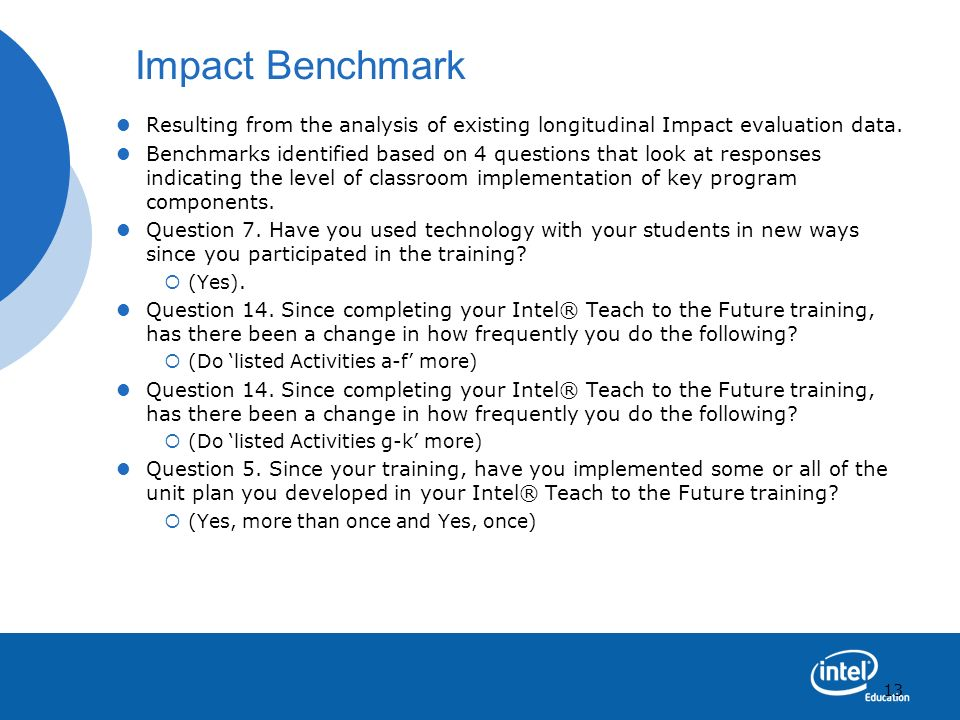 Impact Benchmark Resulting from the analysis of existing longitudinal Impact evaluation data.