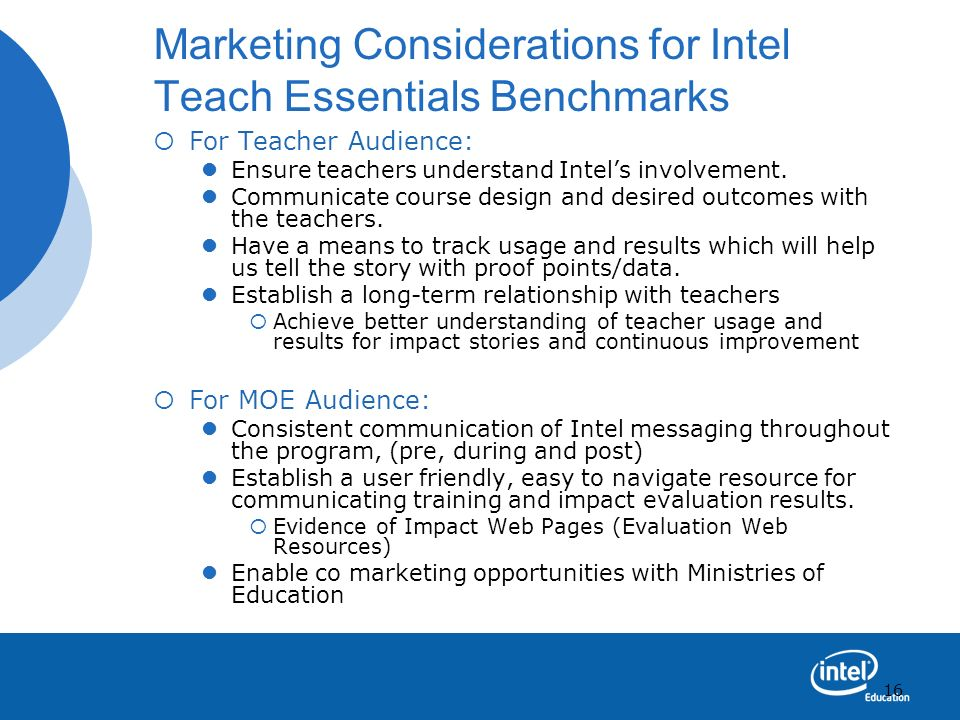 Marketing Considerations for Intel Teach Essentials Benchmarks