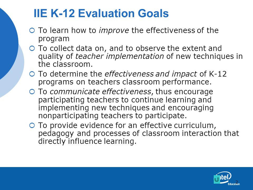 IIE K-12 Evaluation Goals