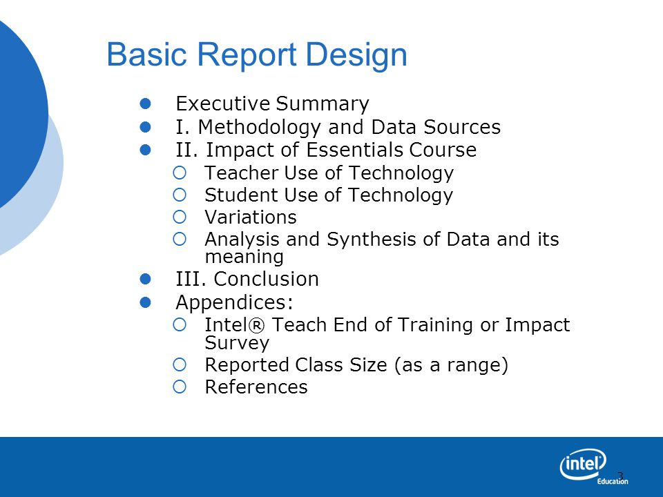 Basic Report Design Executive Summary I. Methodology and Data Sources
