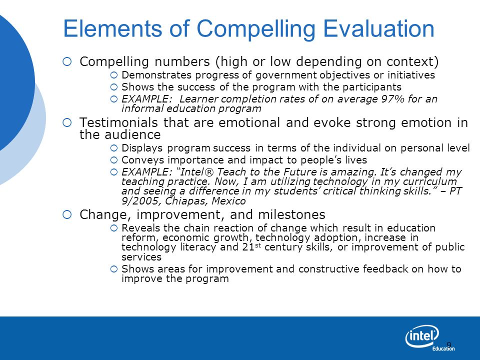 Elements of Compelling Evaluation