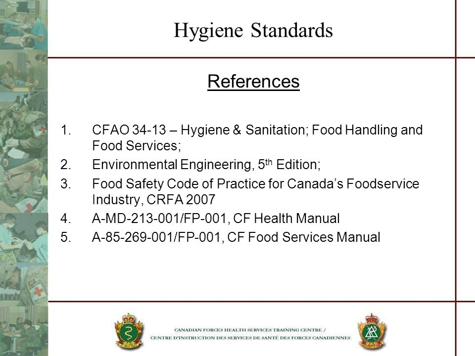 Hygiene Standards References
