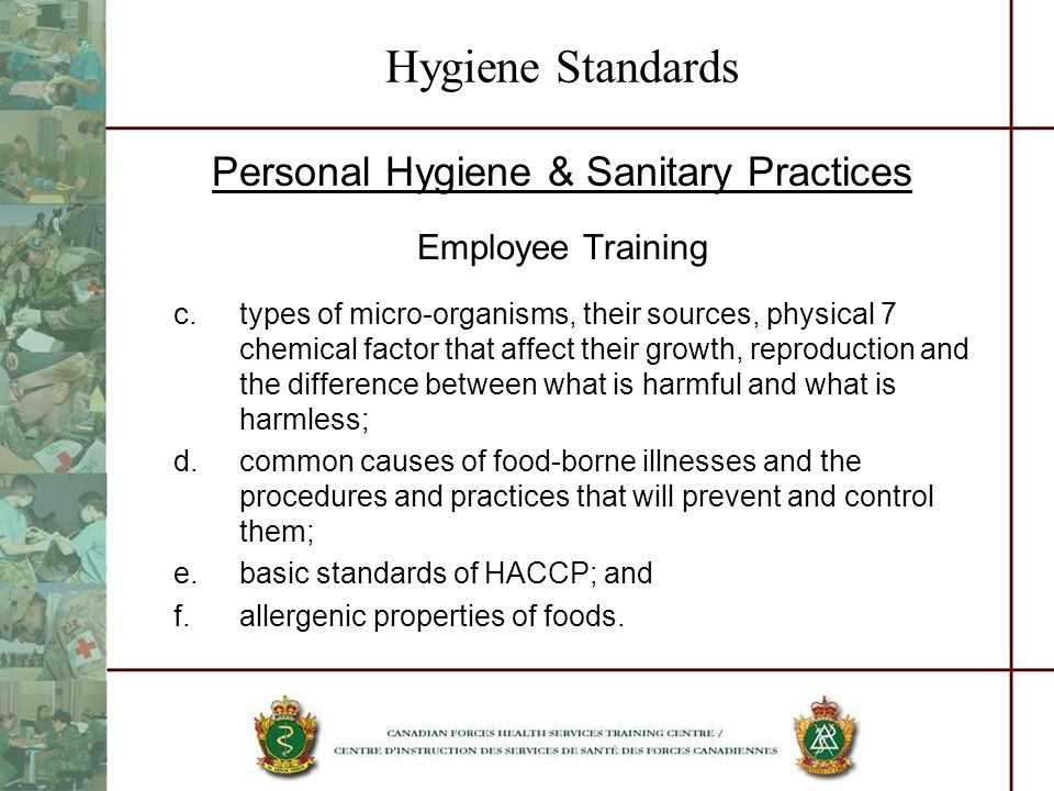 Personal Hygiene & Sanitary Practices