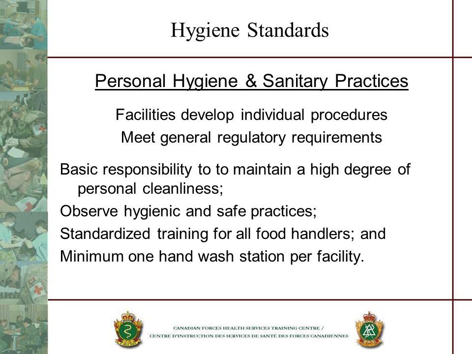 Hygiene Standards Personal Hygiene & Sanitary Practices