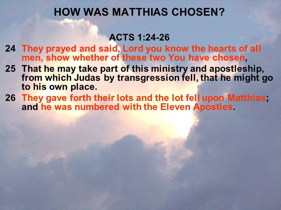HOW WAS MATTHIAS CHOSEN